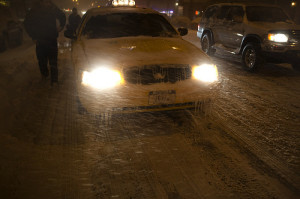Taxi in snow storm--baby it's cold outside