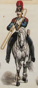 Mounted military trombonist