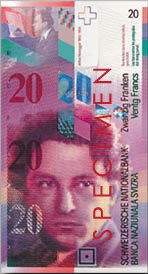 Honneger on 1996 Swiss 20 franc note