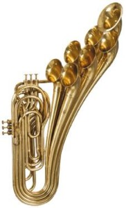 Sax trombone with 6 valves and 7 bells
